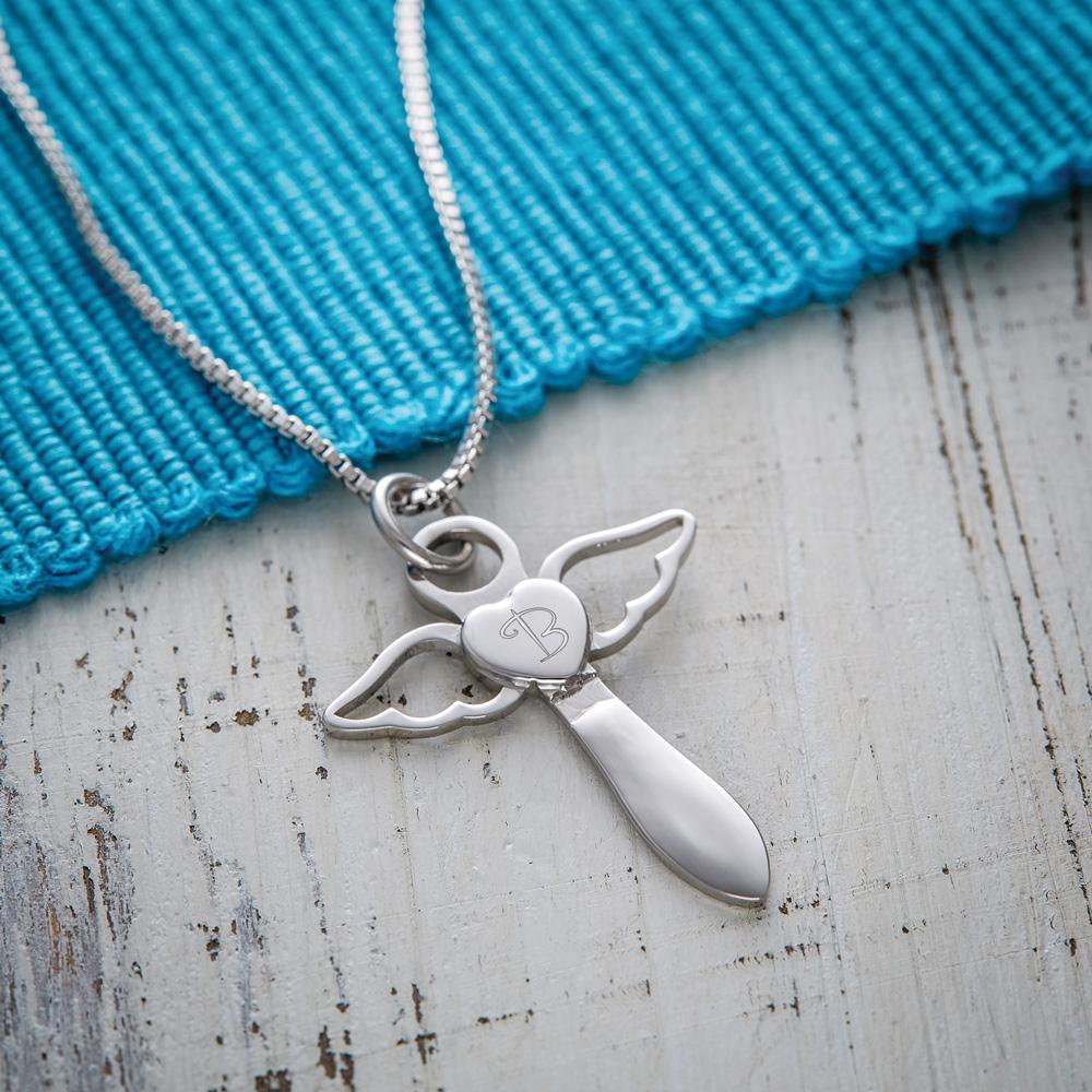 Schutzengel Halskette mit Gravur Herz Engel - Silber - Initial - Personalisiert