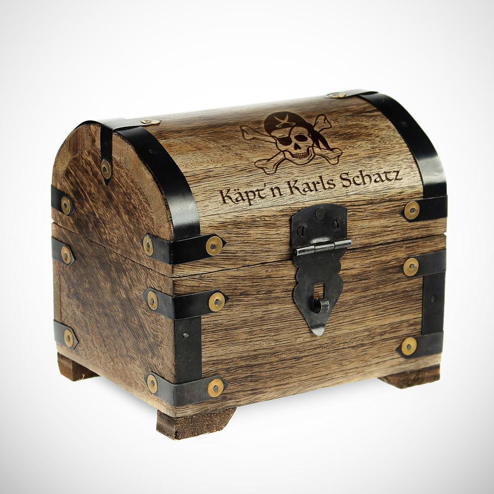 Geld Schatztruhe Piratenschatz - Dunkel - Personalisiert
