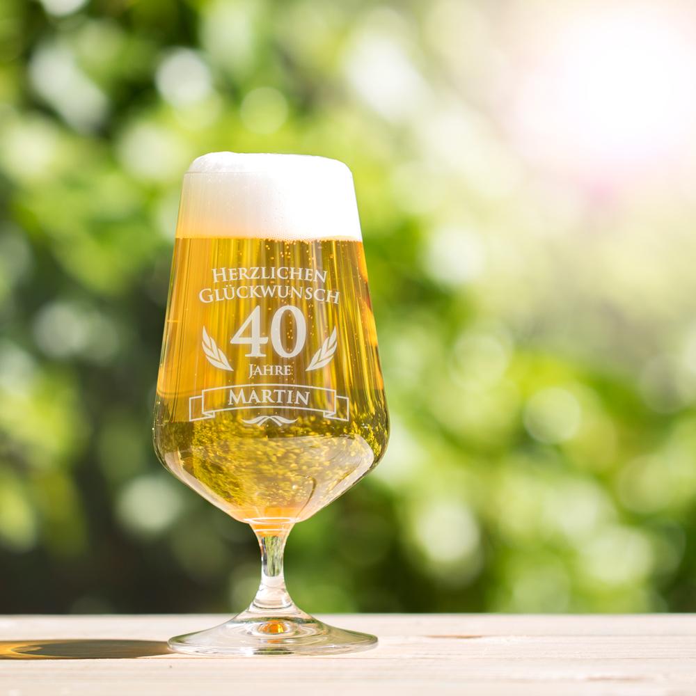 Bierglas mit Gravur zum Geburtstag - Pilstulpe - Personalisiert