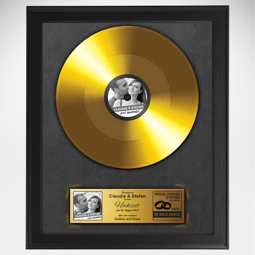Goldene Schallplatte zur Hochzeit - Ihr Bild und Name auf der Platte