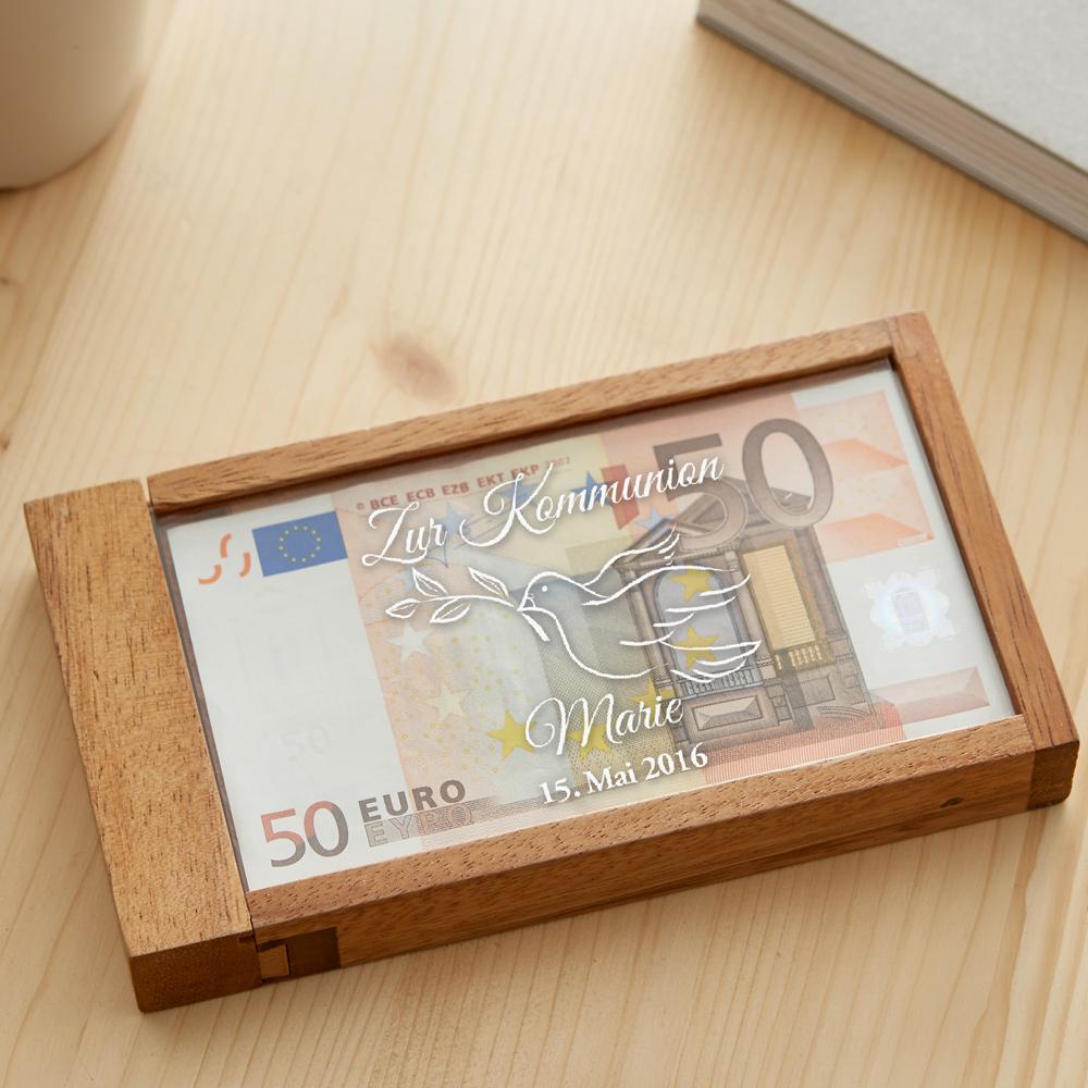 Magische Geldgeschenkbox mit Gravur zur Kommunion
