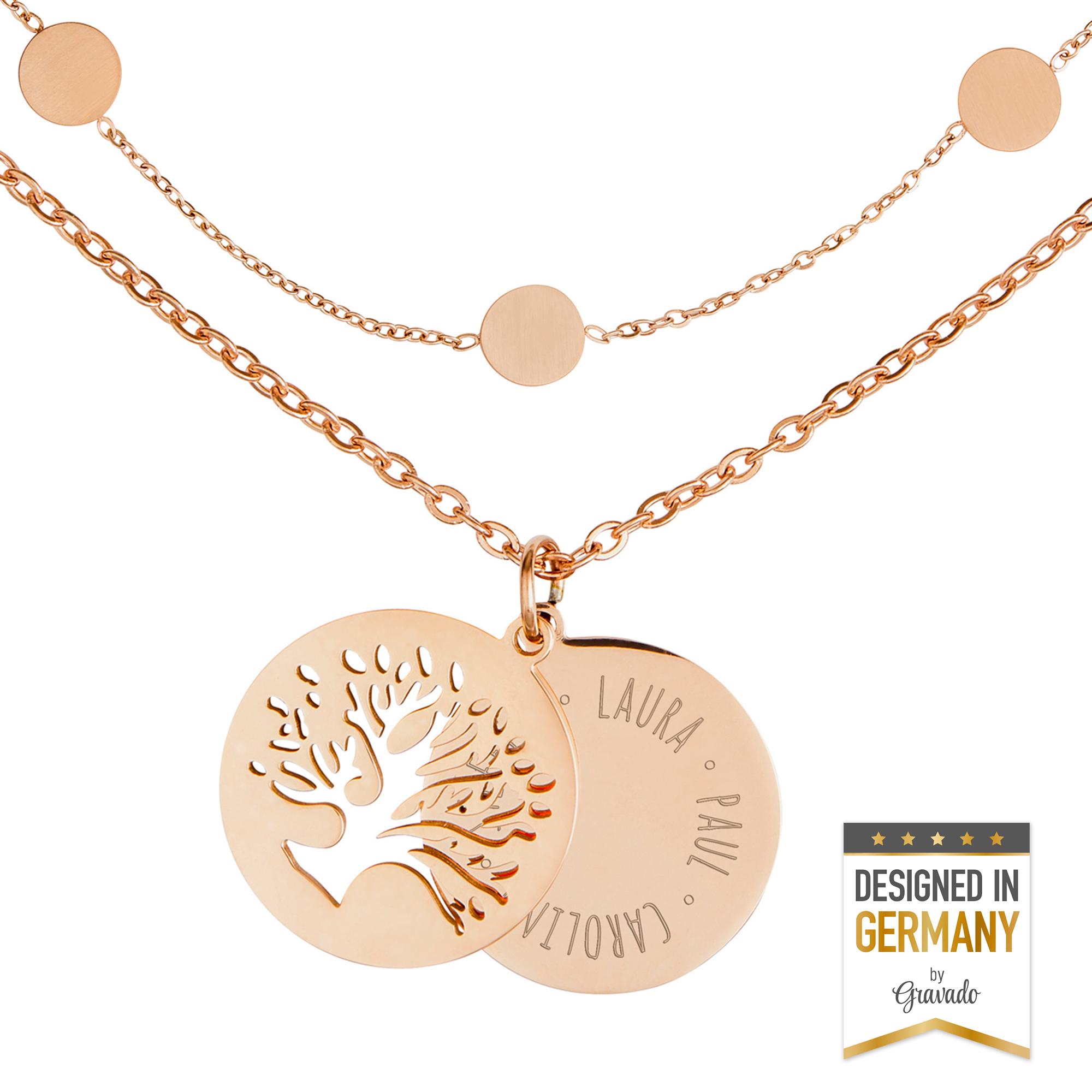 Set Layering Kette und Halskette Baum - Roségold - Personalisiert