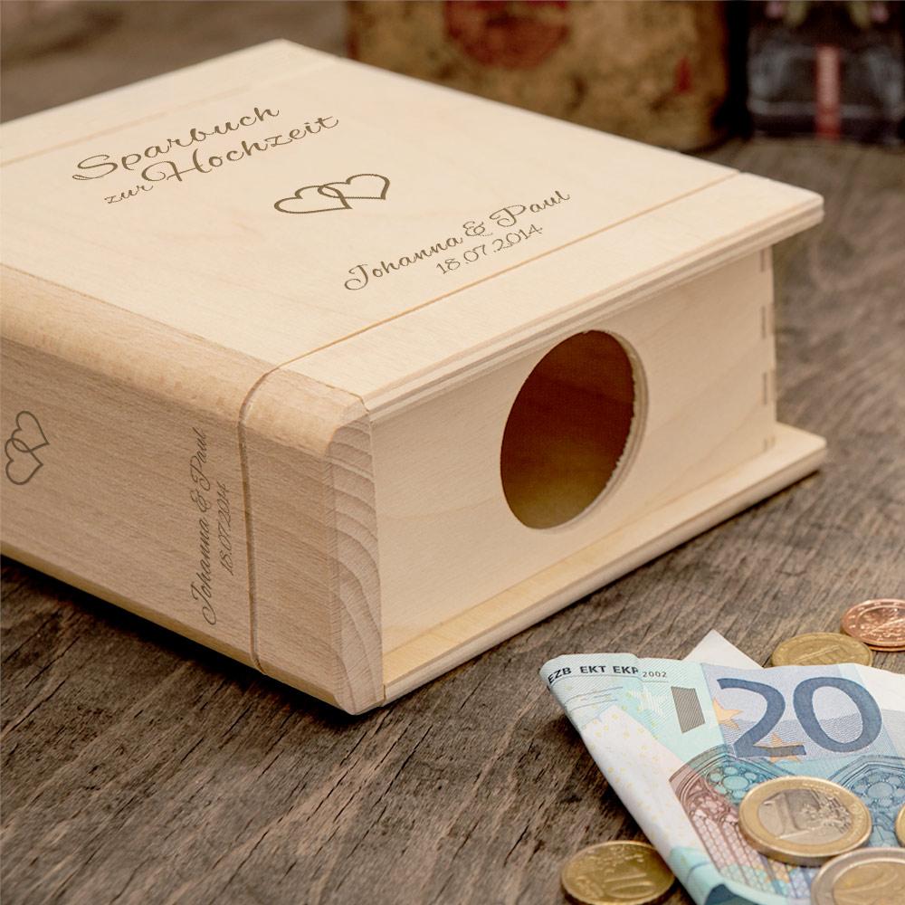 Spardose Buch aus Holz zur Hochzeit mit Gravur