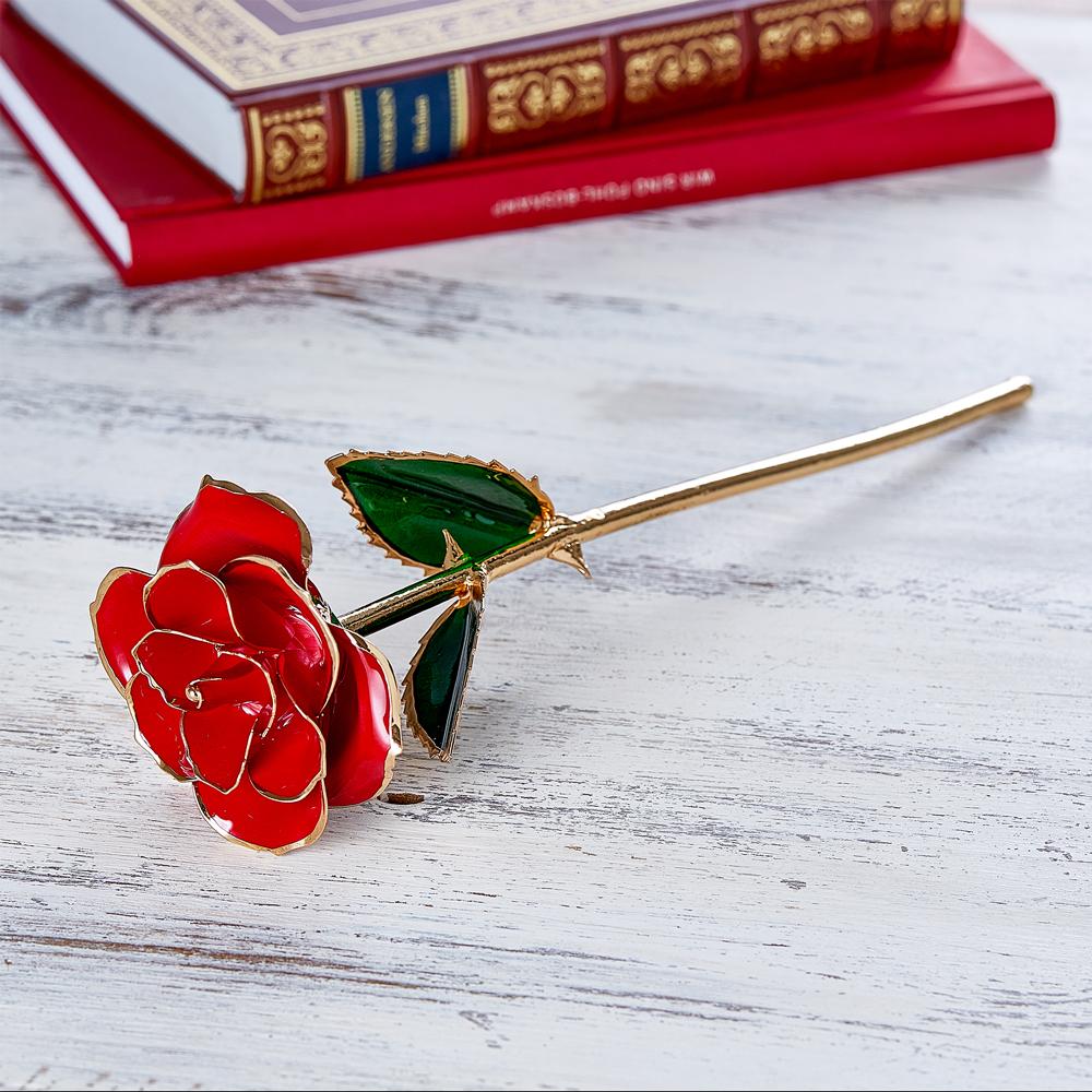 Vergoldete Rose aus Glas mit Gravur - Beste Mama - Personalisiert