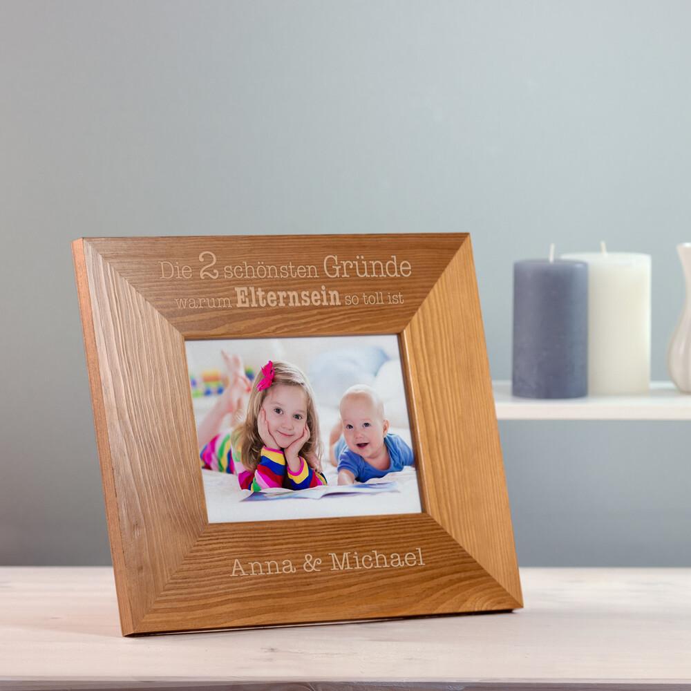 Bilderrahmen aus Holz mit Gravur - Elternsein - Personalisiert