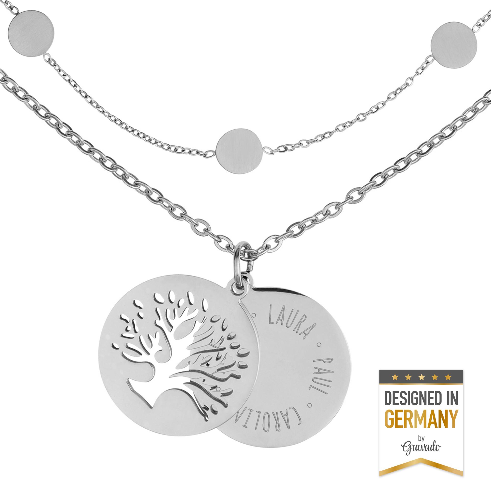 Set - Layering Kette und Halskette - Baum - Silber - Personalisiert