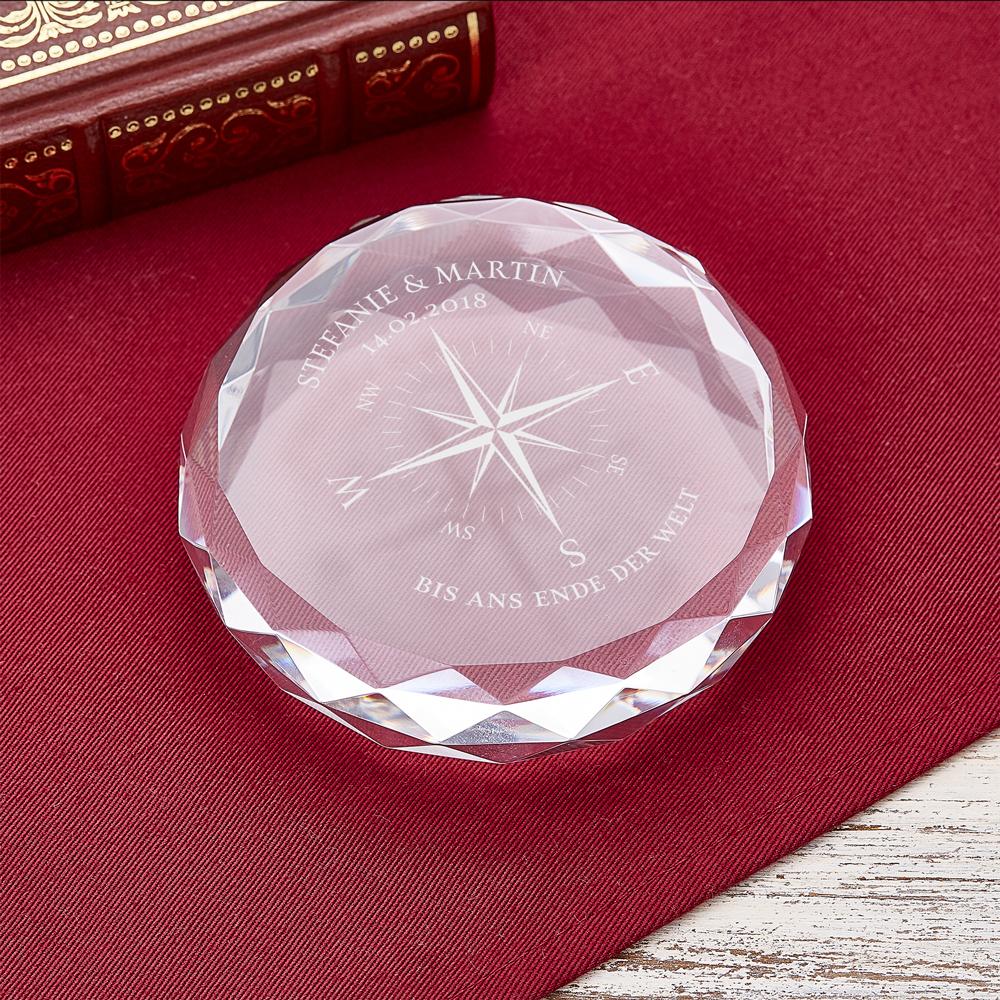 Kristall mit Gravur - Kompass - Personalisiert