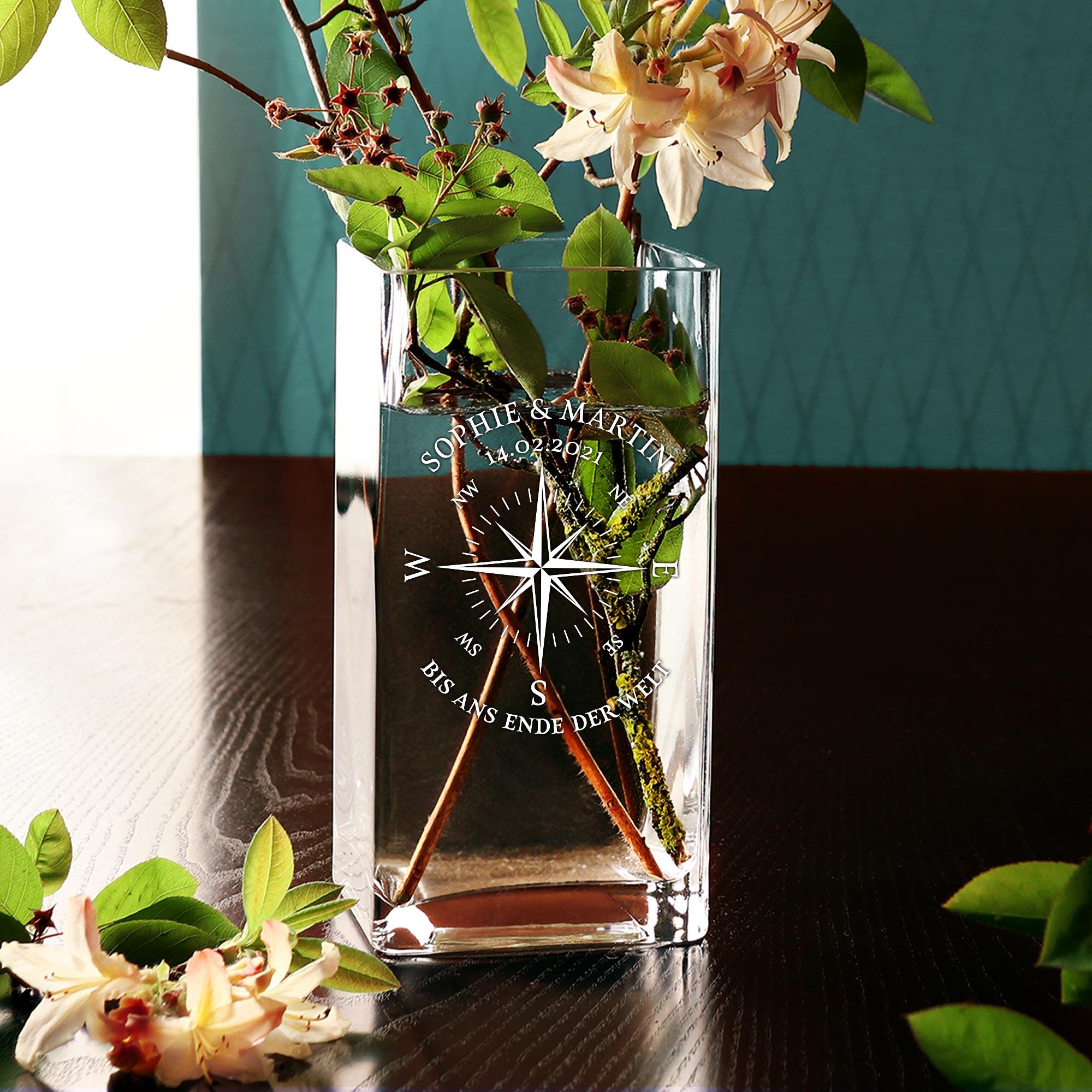 Vase mit Gravur - Kompass Liebe