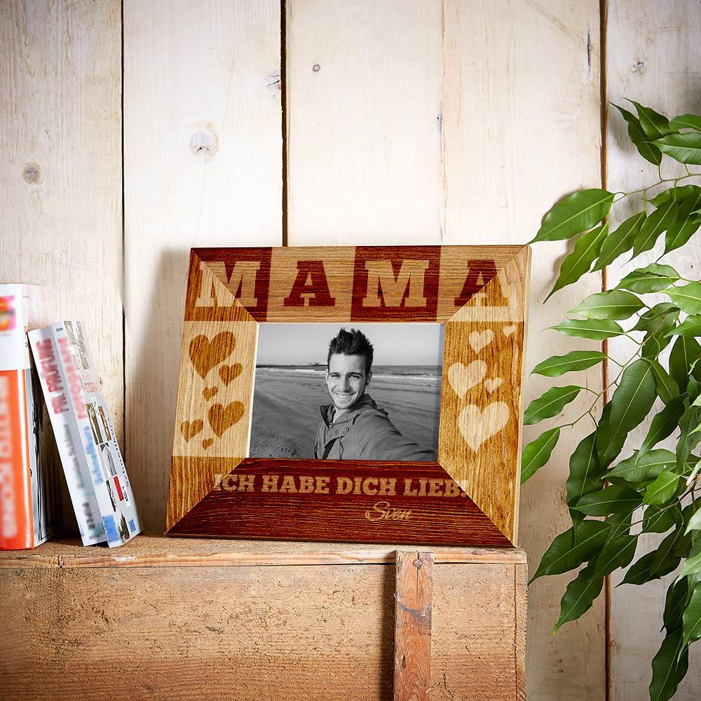 Bilderrahmen aus Holz mit Gravur für Mama - Personalisiert