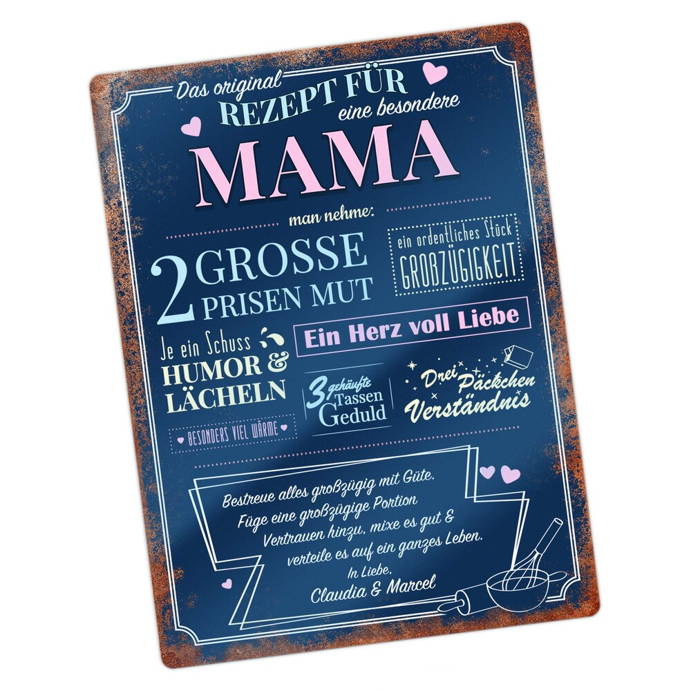 Personalisiertes Wandschild - Rezept Mama