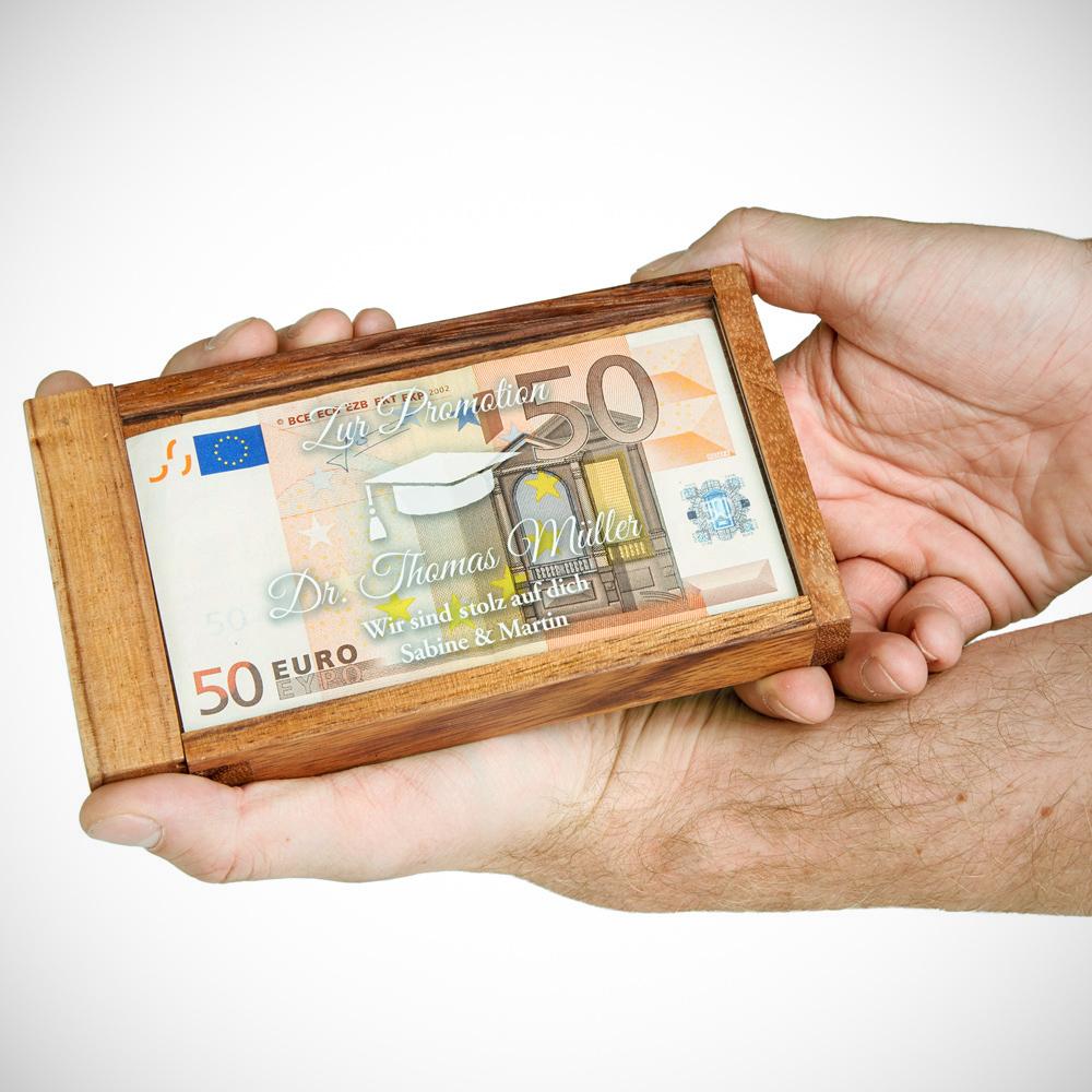 Magische Geldgeschenkbox mit Gravur zur Promotion