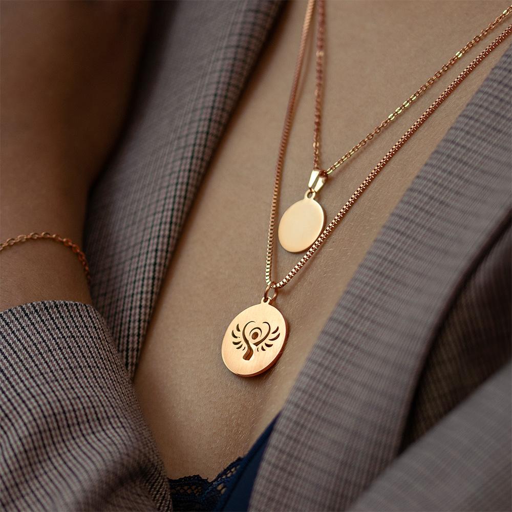 Halskette mit Gravur - Schutzengel und Namen - Roségold - Personalisiert