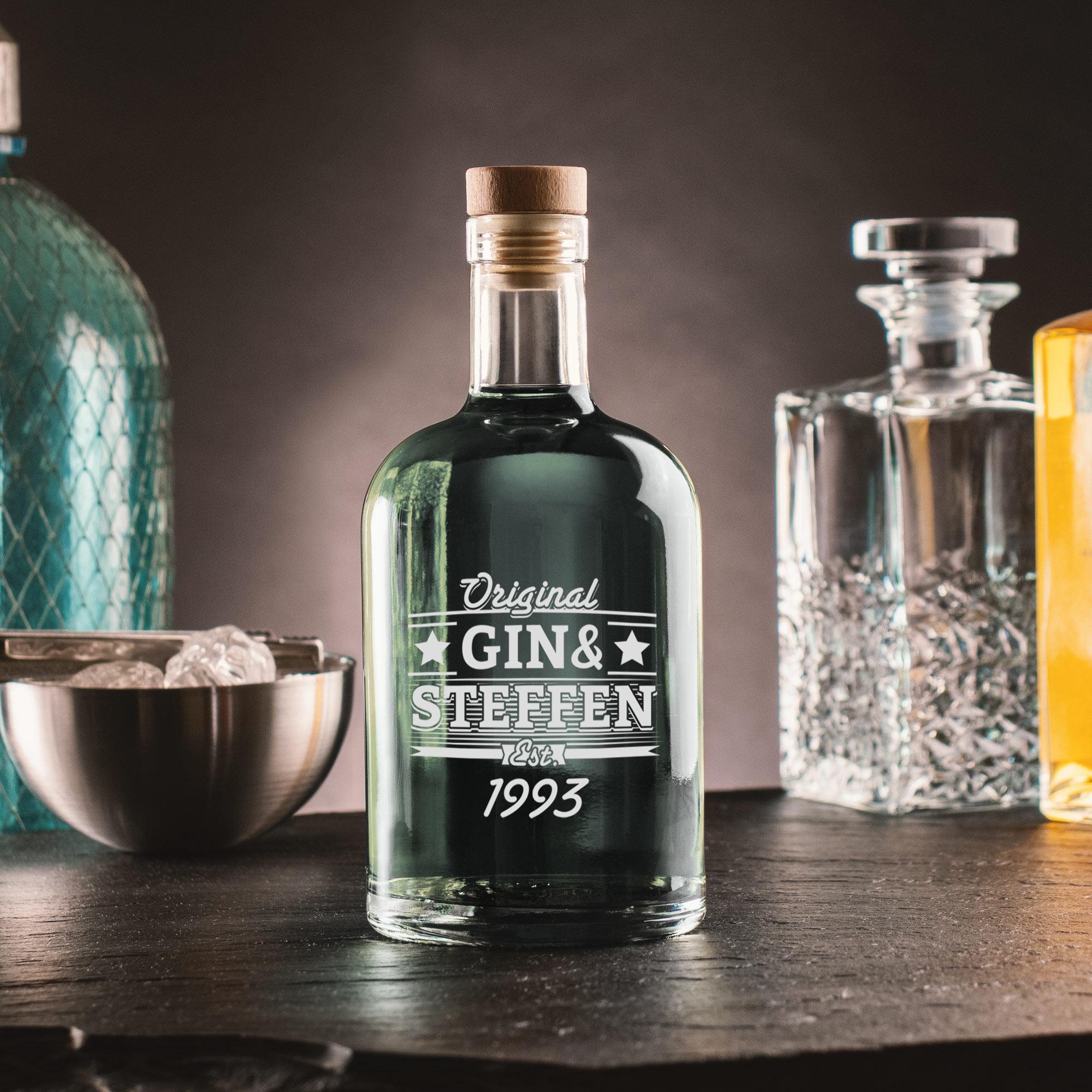 Glaskaraffe mit Gin & Geburtstag Gravur - Personalisiert