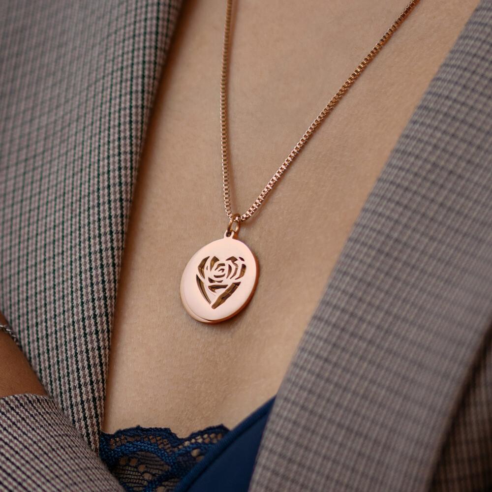 Herzkette mit Gravur - Namen und Datum - Roségold - Personalisiert