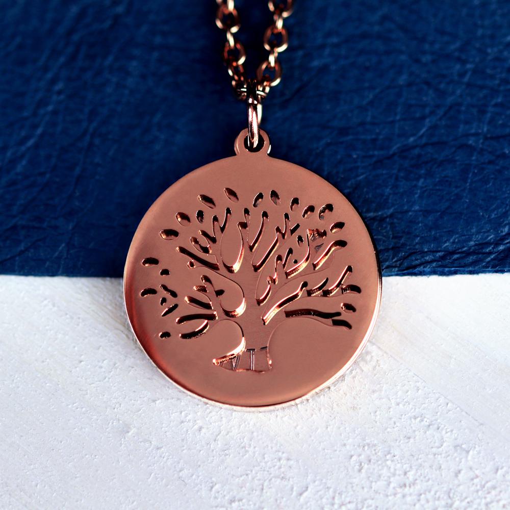 Halskette mit Gravur - Baum und Namen - Roségold - Personalisiert