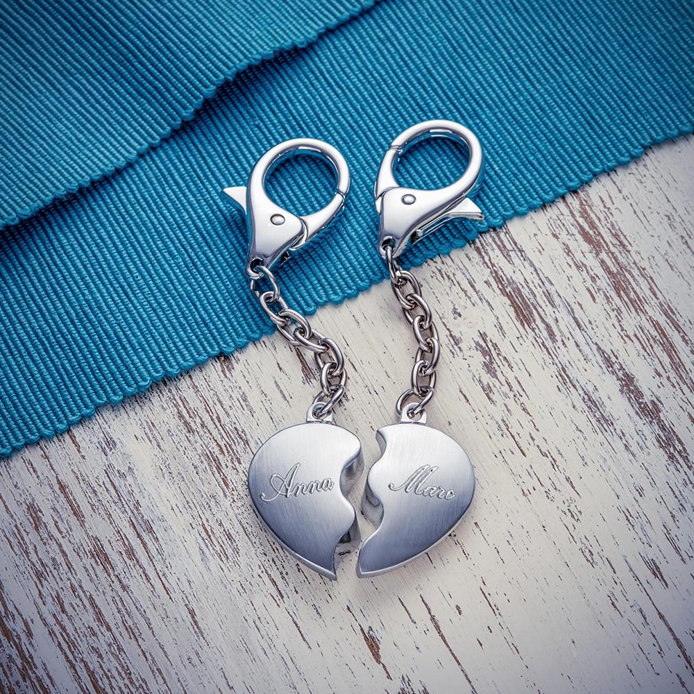 Schlüsselanhänger Herz aus Edelstahl mit Gravur - Personalisiert