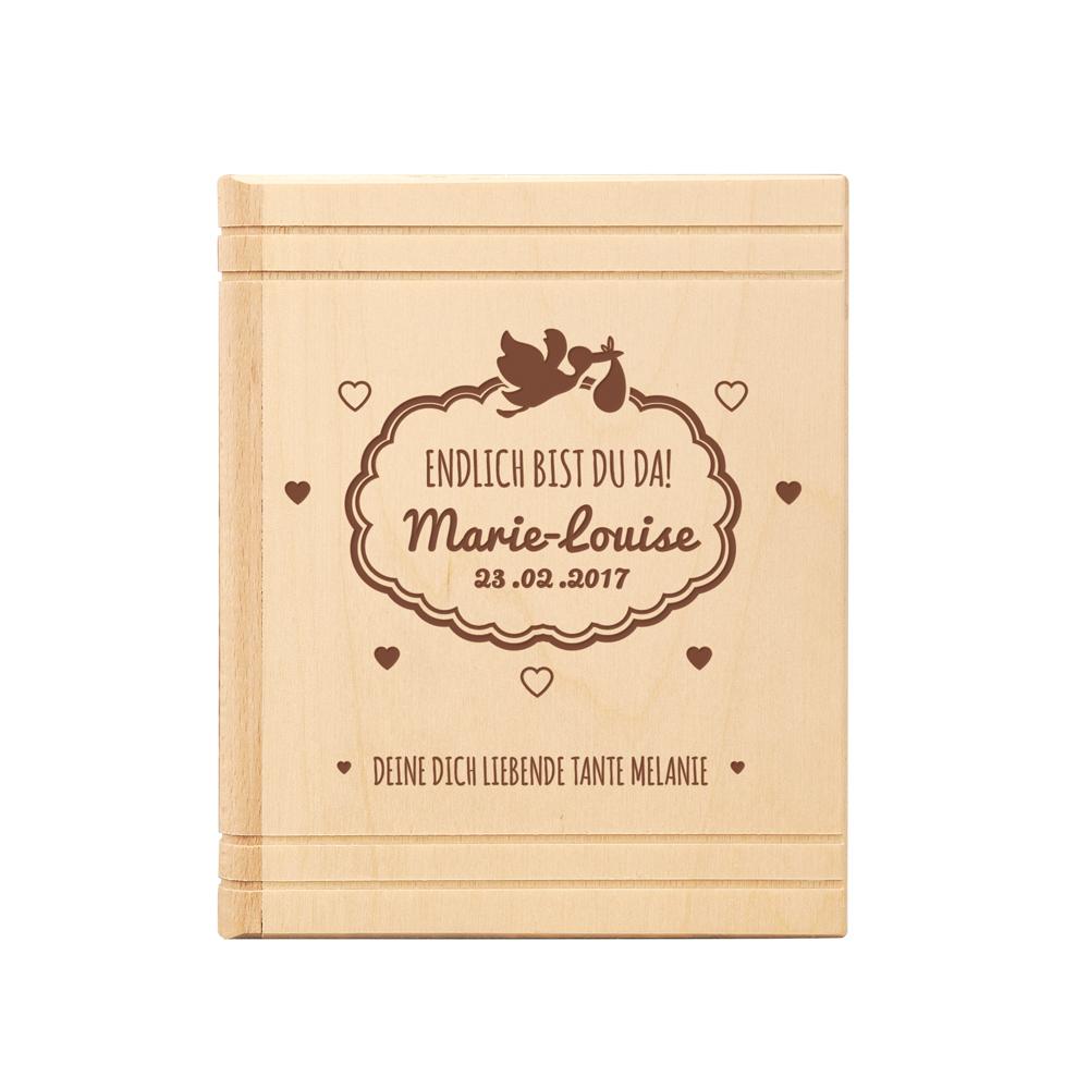 Spardose Buch aus Holz mit Gravur zur Geburt - Personalisiert