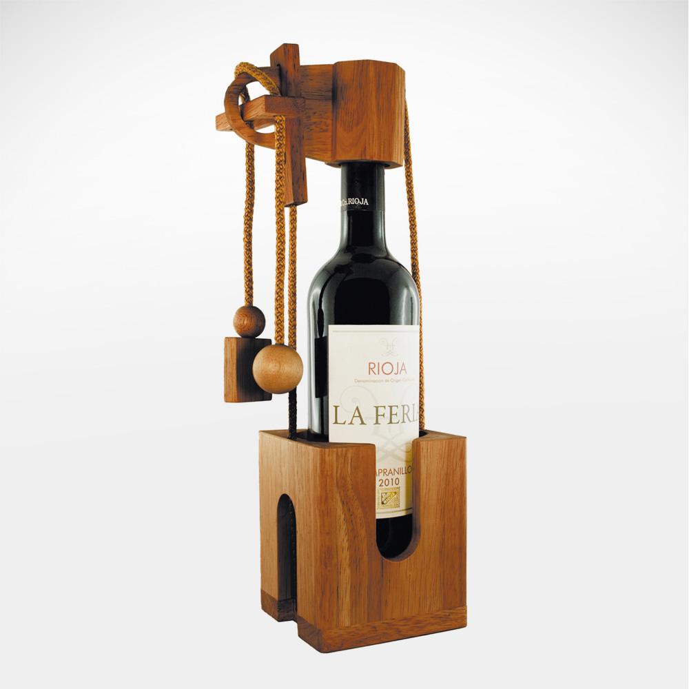 Edelholz Flaschenpuzzle mit Gravur Dunkel