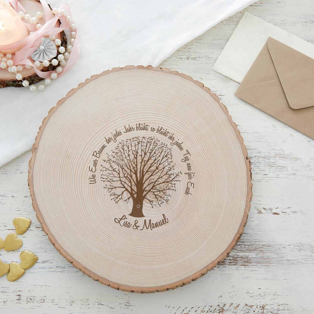 Riesen Baumscheibe mit Gravur - Baum der Ehe - Personalisiert