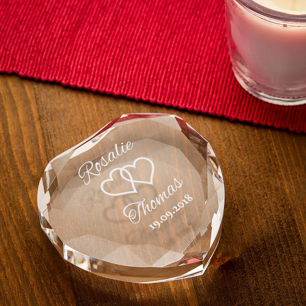 Herzkristall mit Gravur zur Hochzeit - Personalisiert