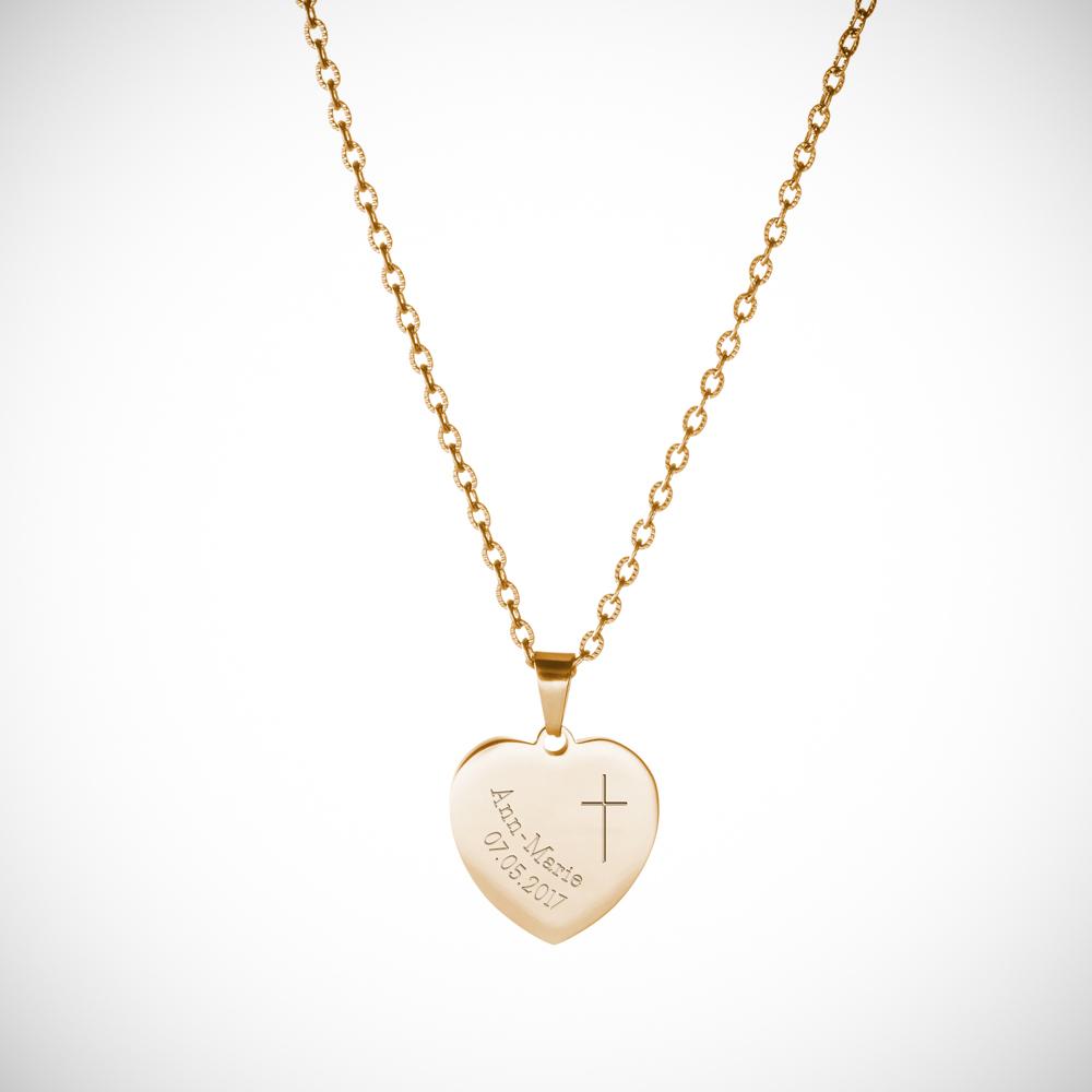 Herz Anhänger Kette mit Gravur - Gold - Kreuz - Personalisiert