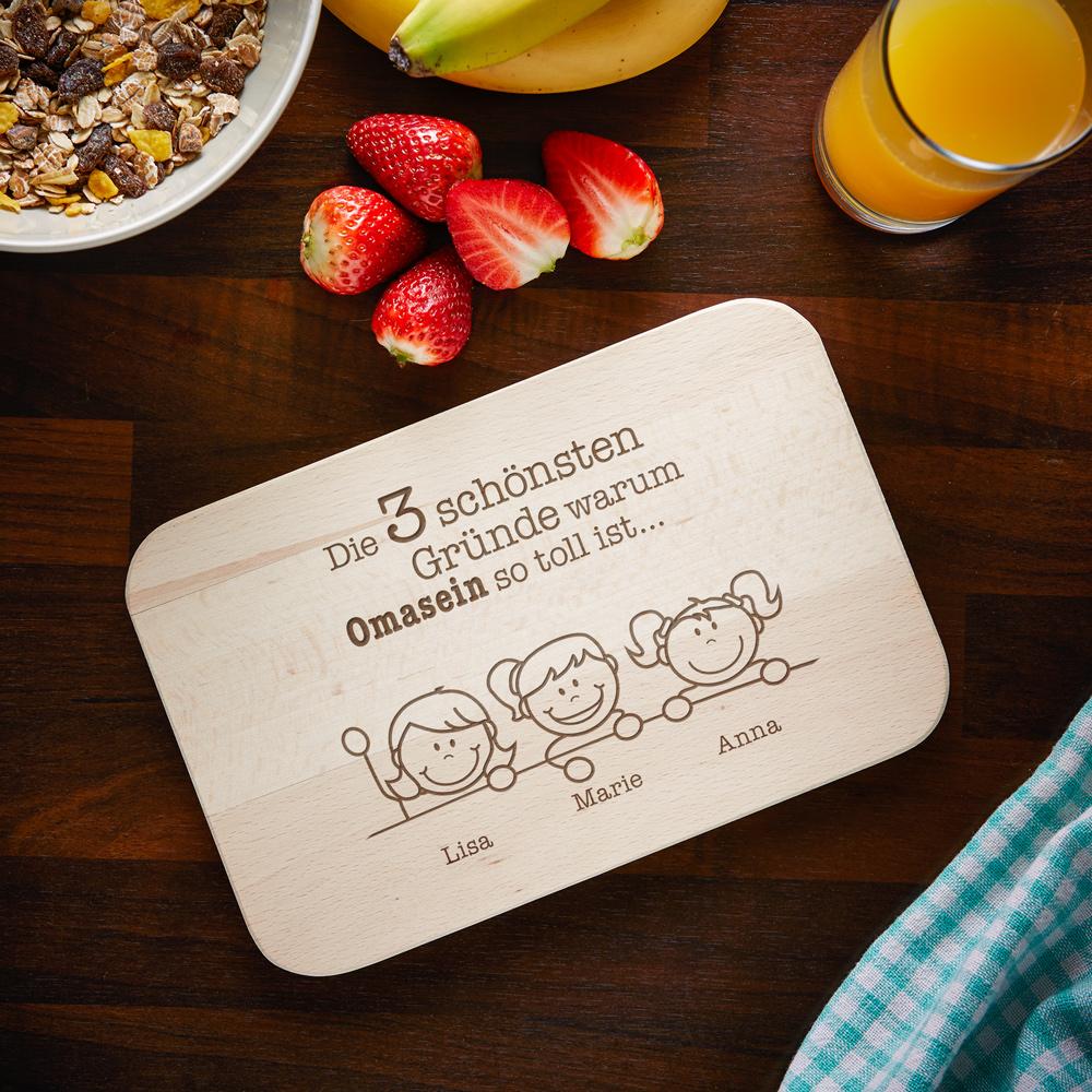 Frühstücksbrett mit Gravur - Warum ich es liebe Oma zu sein