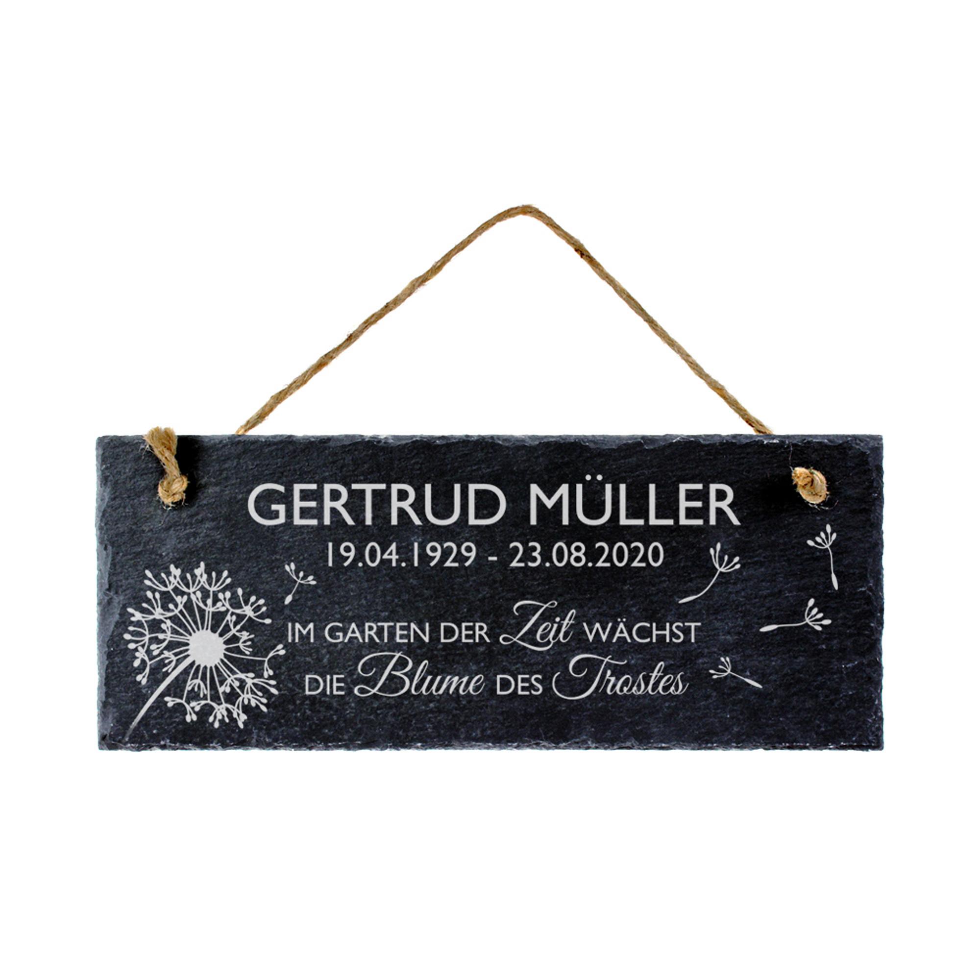 Schiefertafel - Trauer - Blume - Personalisiert