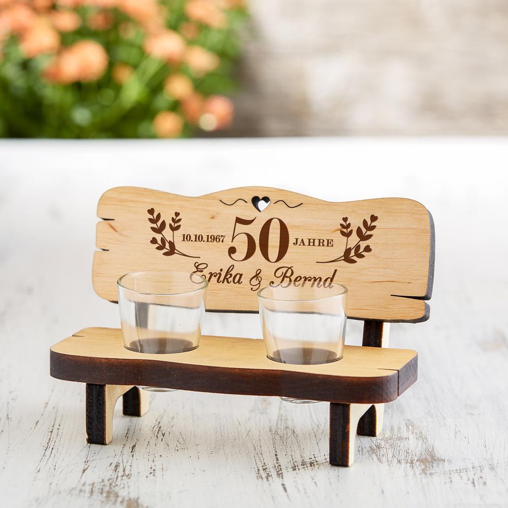 Schnapsbank mit Gravur zur Goldenen Hochzeit - Personalisiert