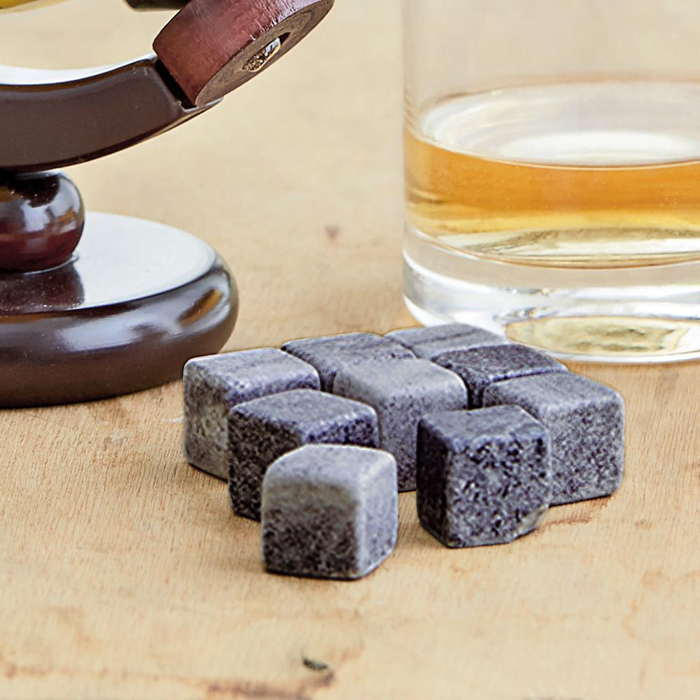Whiskysteine in edler Holzbox mit Gravur Elegant