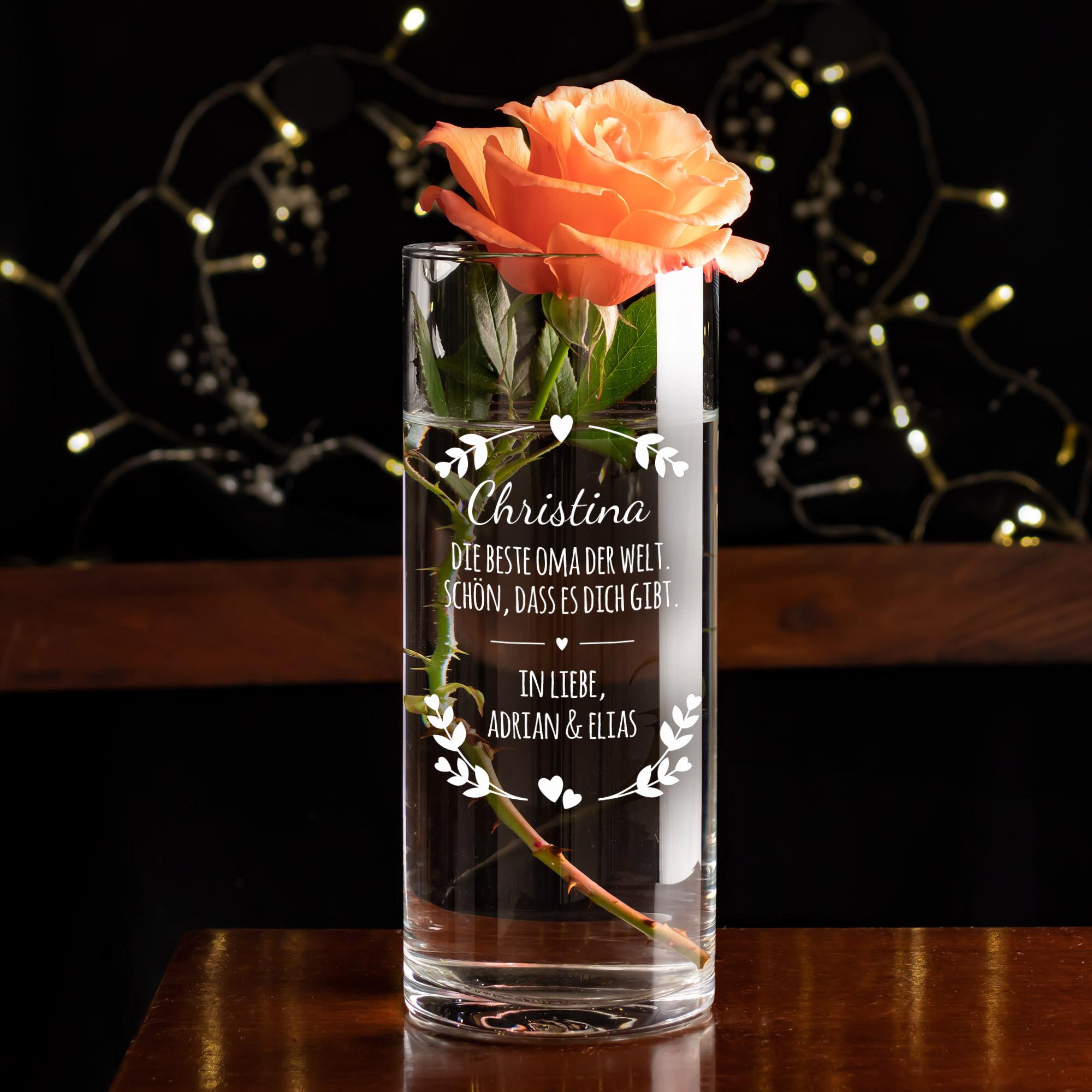 Runde Vase mit Gravur für die Beste Oma