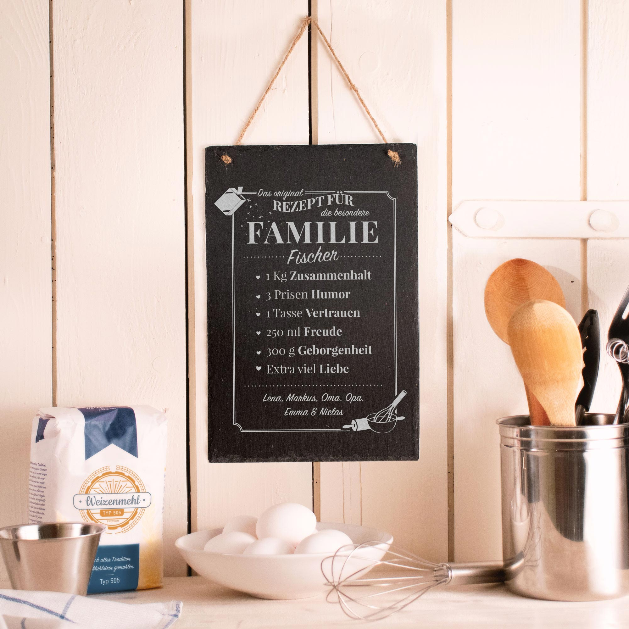 Personalisierte Schiefertafel mit Gravur Rezept Familie - Groß