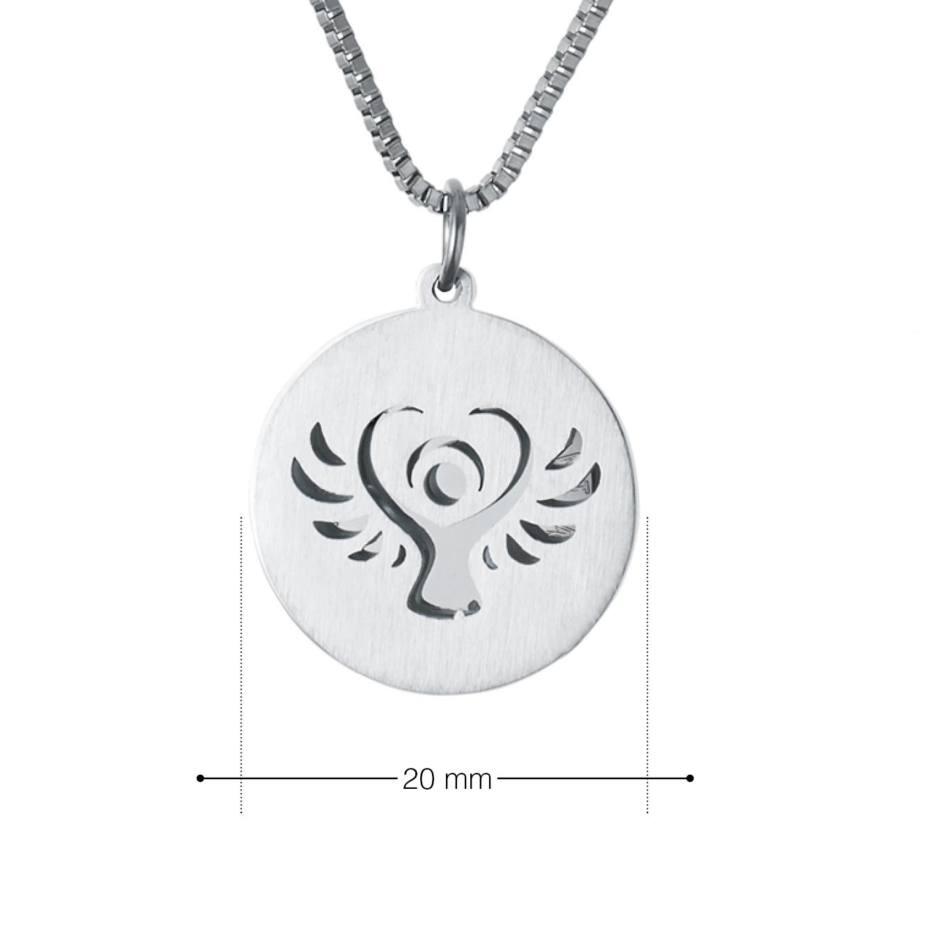 Halskette mit Gravur - Schutzengel und Namen - Silber - Personalisiert