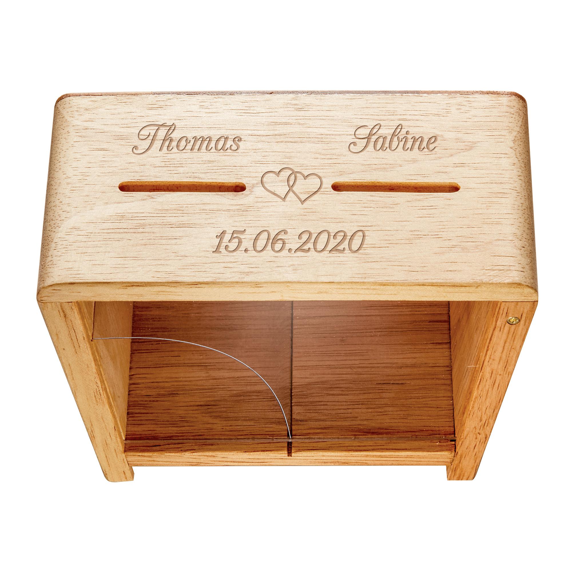 Holz Spardose zur Hochzeit mit Gravur Er und Sie - Personalisiert