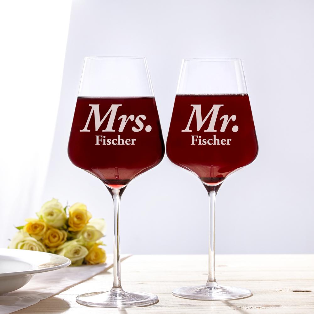Weinglas mit Gravur - Mr Mrs - Personalisiert - 2er Set