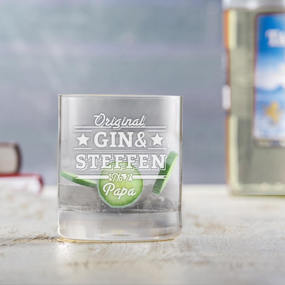 Ginglas Tumbler mit Gravur für Vater - Gin & Papa - Personalisiert