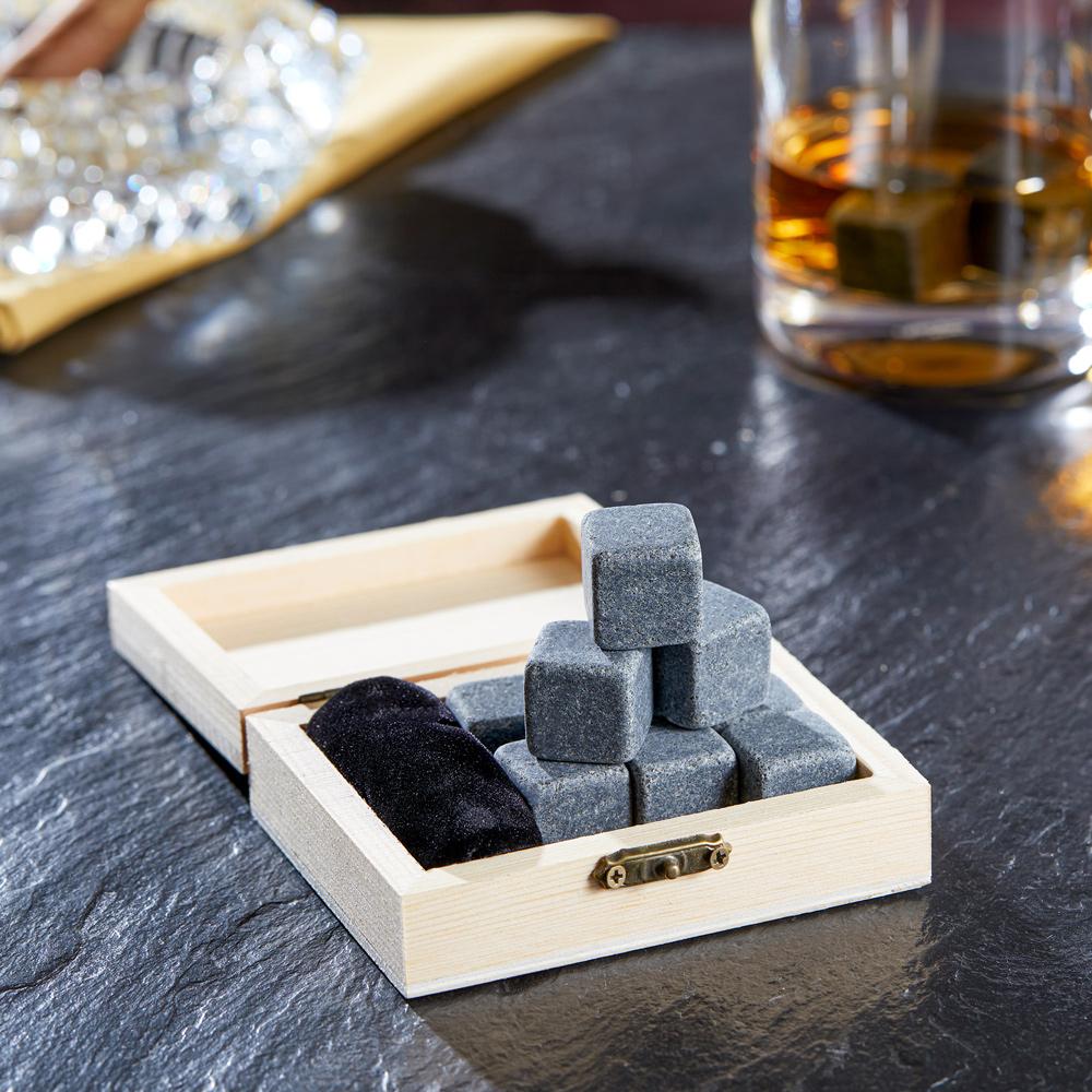 Glas Whisky-Geschenk-Box mit Gravur Bester Papa Kühlsteine Untersetzer