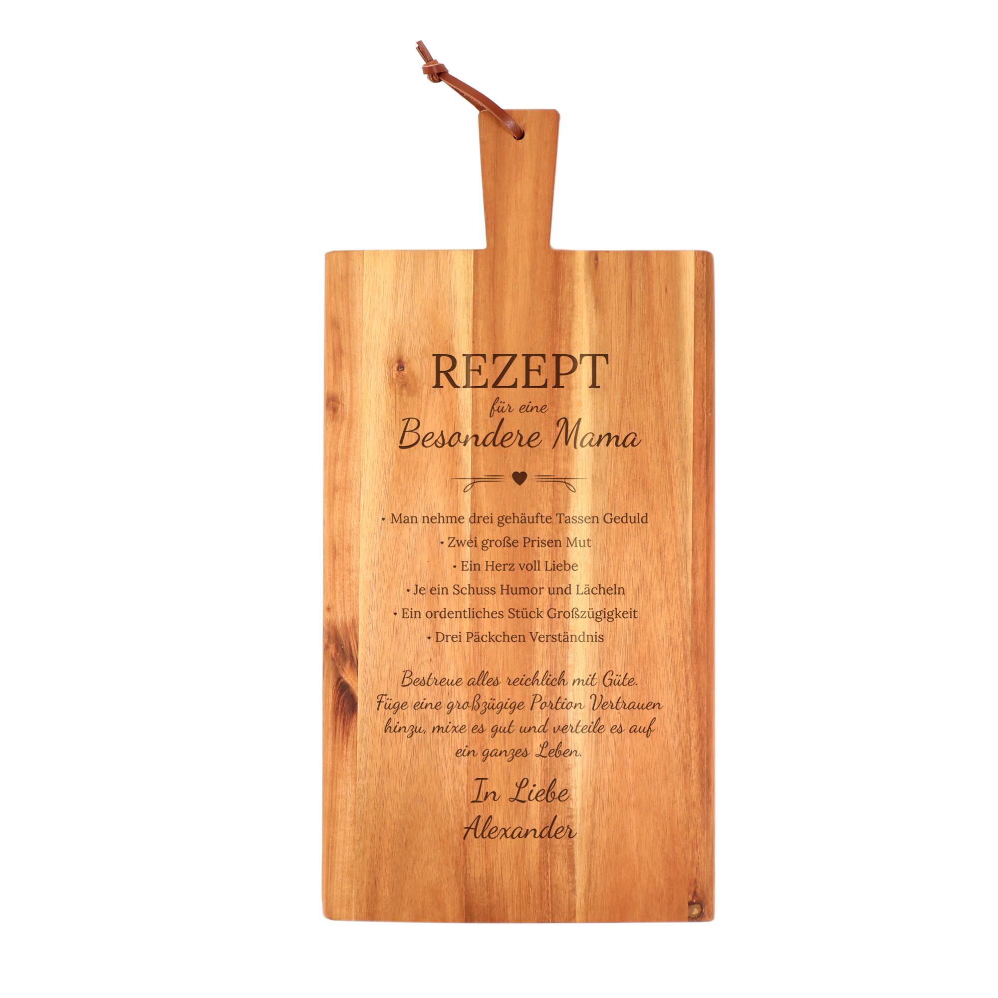 Schneidebrett mit Griff - Rezept Mama Namen - Personalisiert