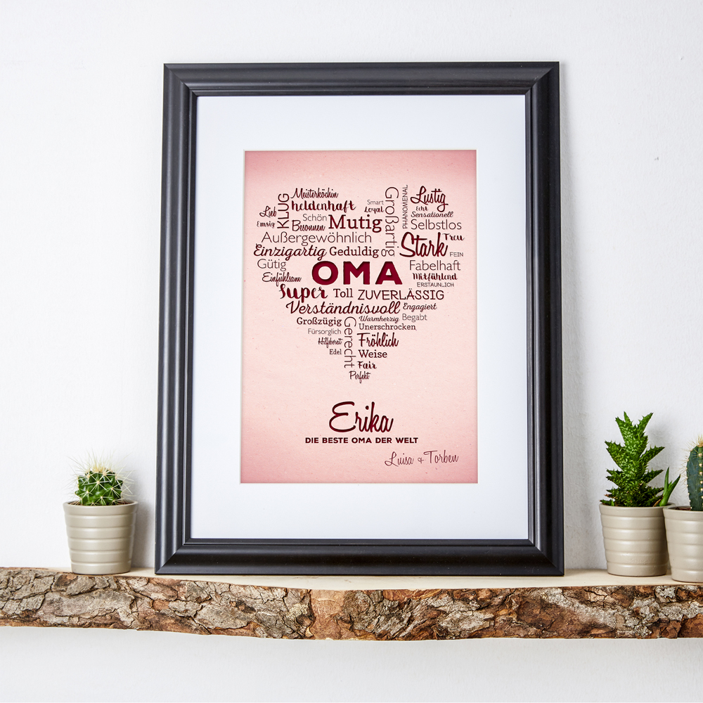 Wortwolke Herz für Oma - Personalisiert - Ihre Namen im Bild