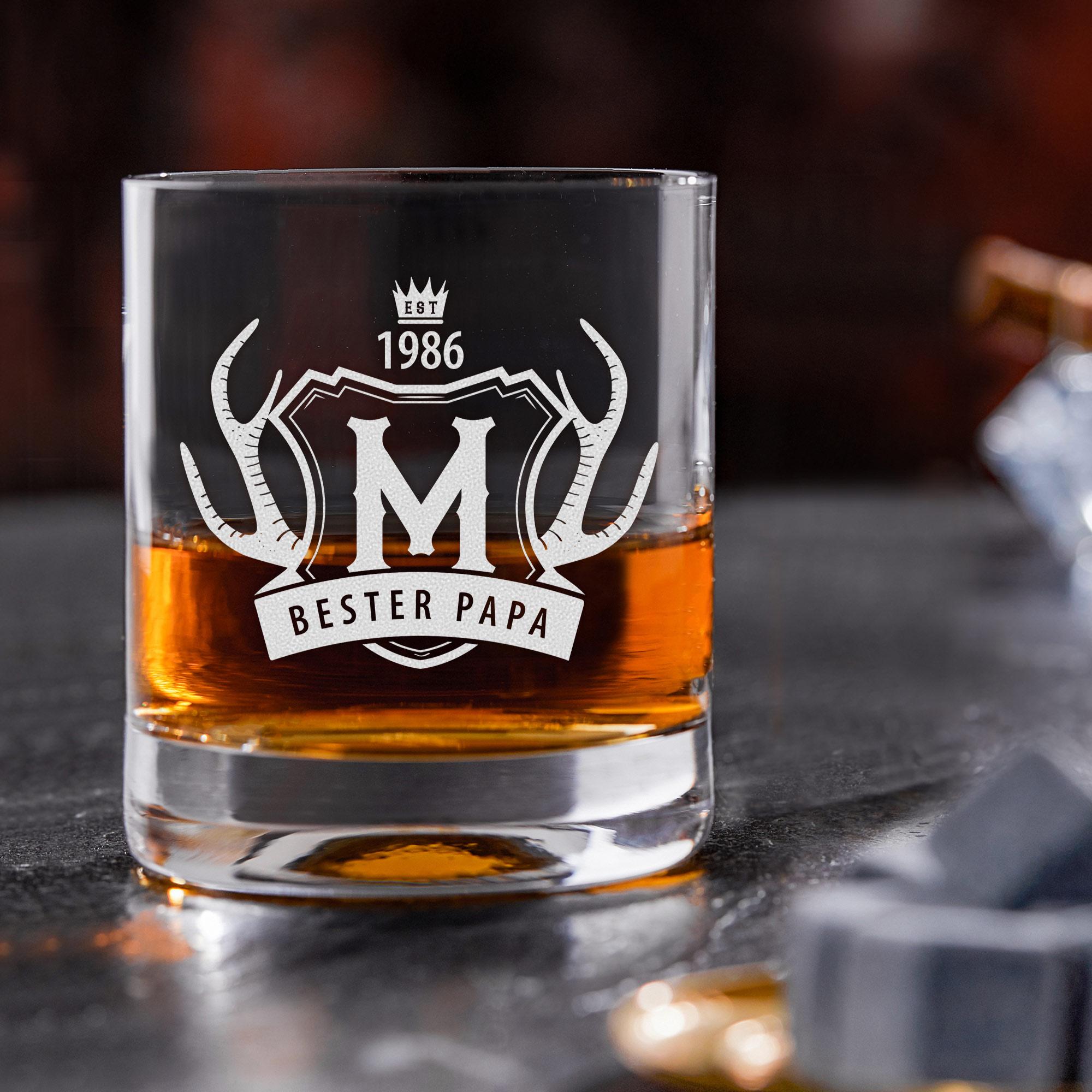 Personalisiertes Whiskyglas mit Gravur Bester Papa - Geweih