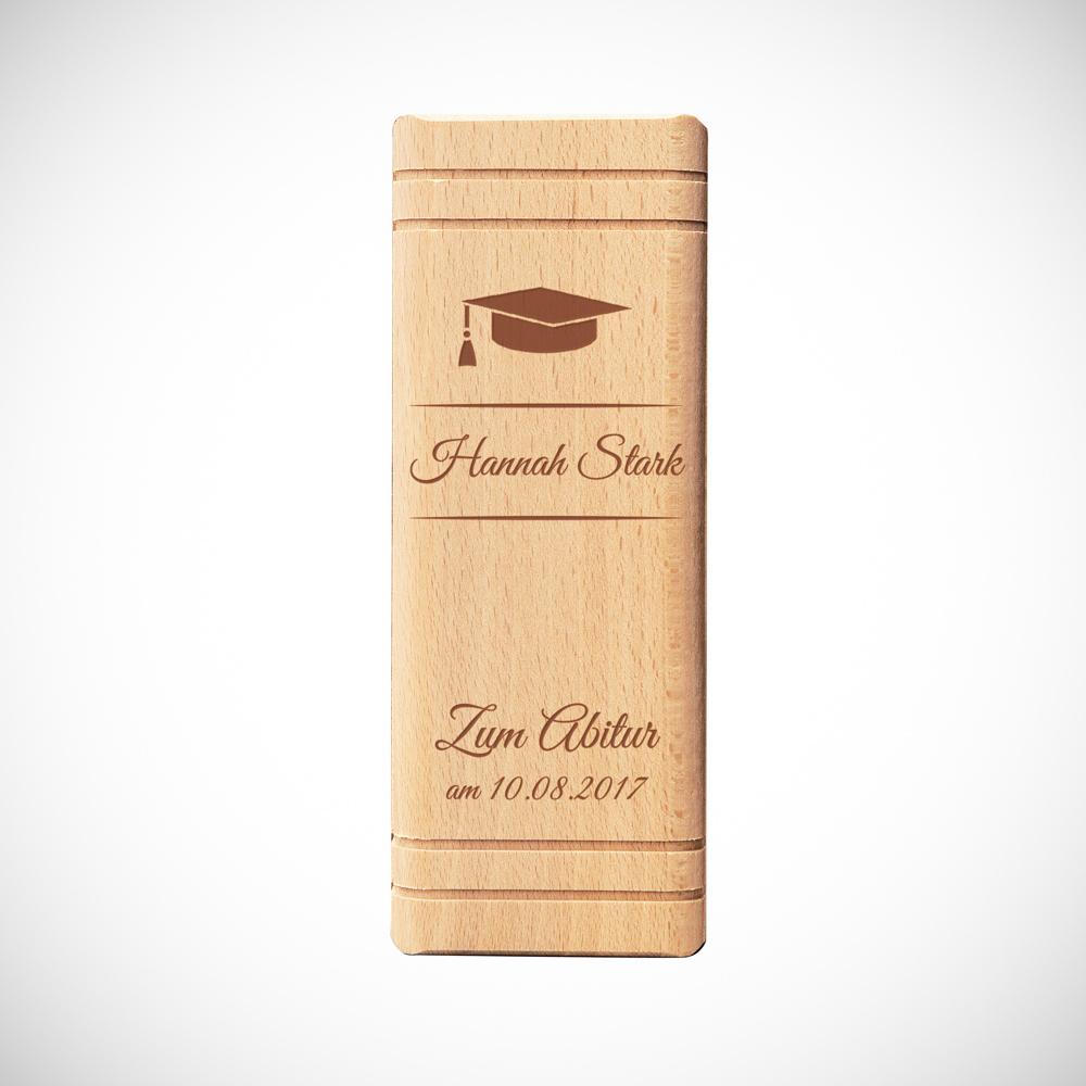 Spardose Buch aus Holz mit Gravur zum Abitur - Personalisiert