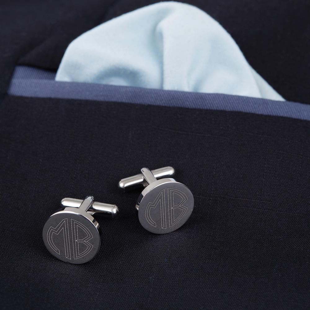 Manschettenknöpfe mit Gravur - Monogramm - Rund - Silber