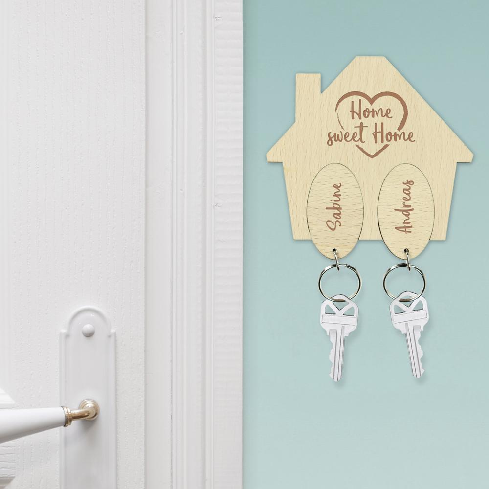 Schlüsselhaus mit Gravur - Home Sweet Home Schlüssellbrett - Personalisiert