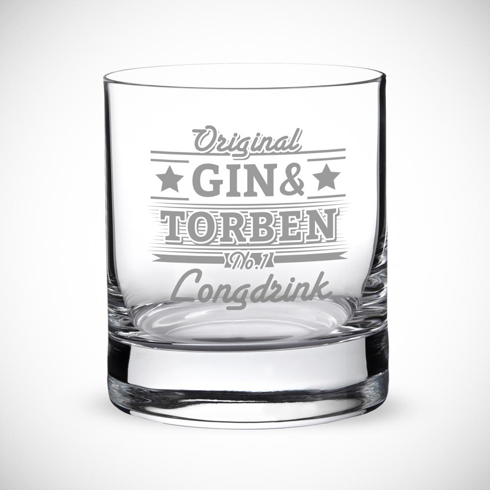 Ginglas mit Gravur - Gin und - Personalisiert