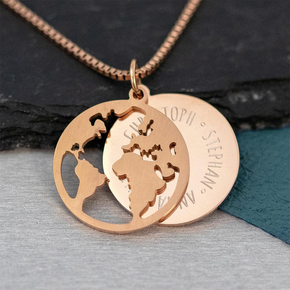 Halskette mit Gravur - Globus und Namen - Roségold - Personalisiert