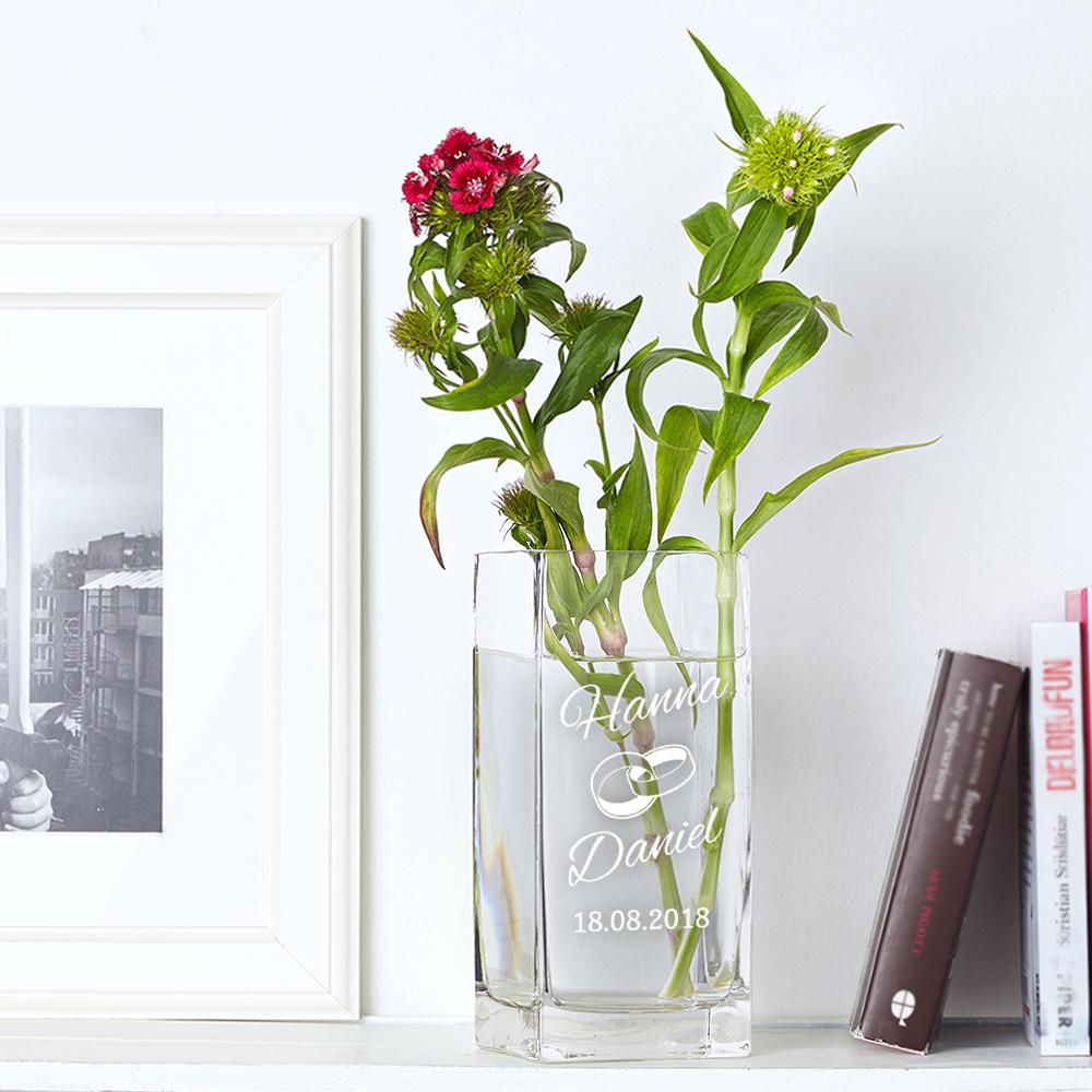 Edle Vase mit Gravur zur Hochzeit