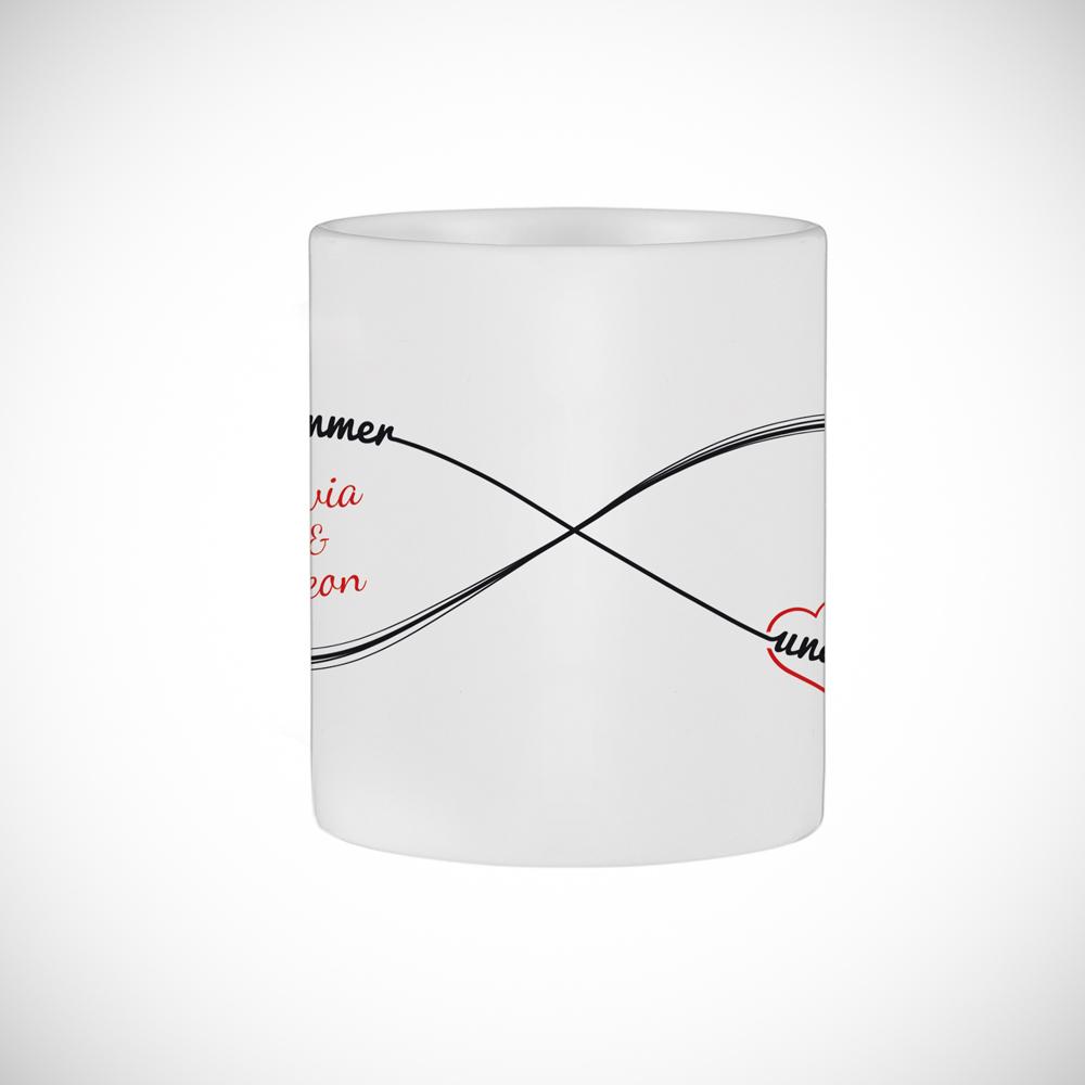 Bedruckte Tasse - 2er Set Herz Henkel - Unendlichkeit