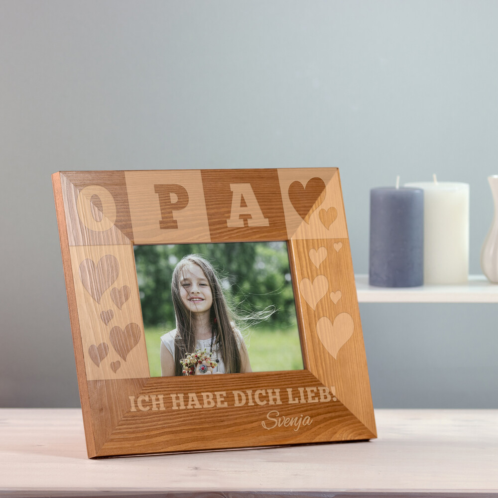 Bilderrahmen aus Holz mit Gravur für Opa - Personalisiert