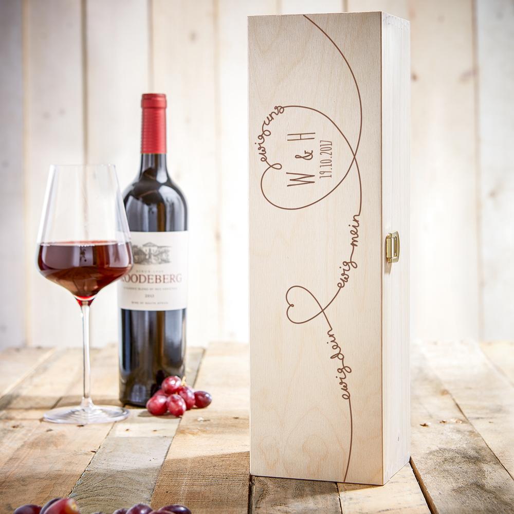 Weinkiste mit Gravur - Ewig Dein - Personalisiert
