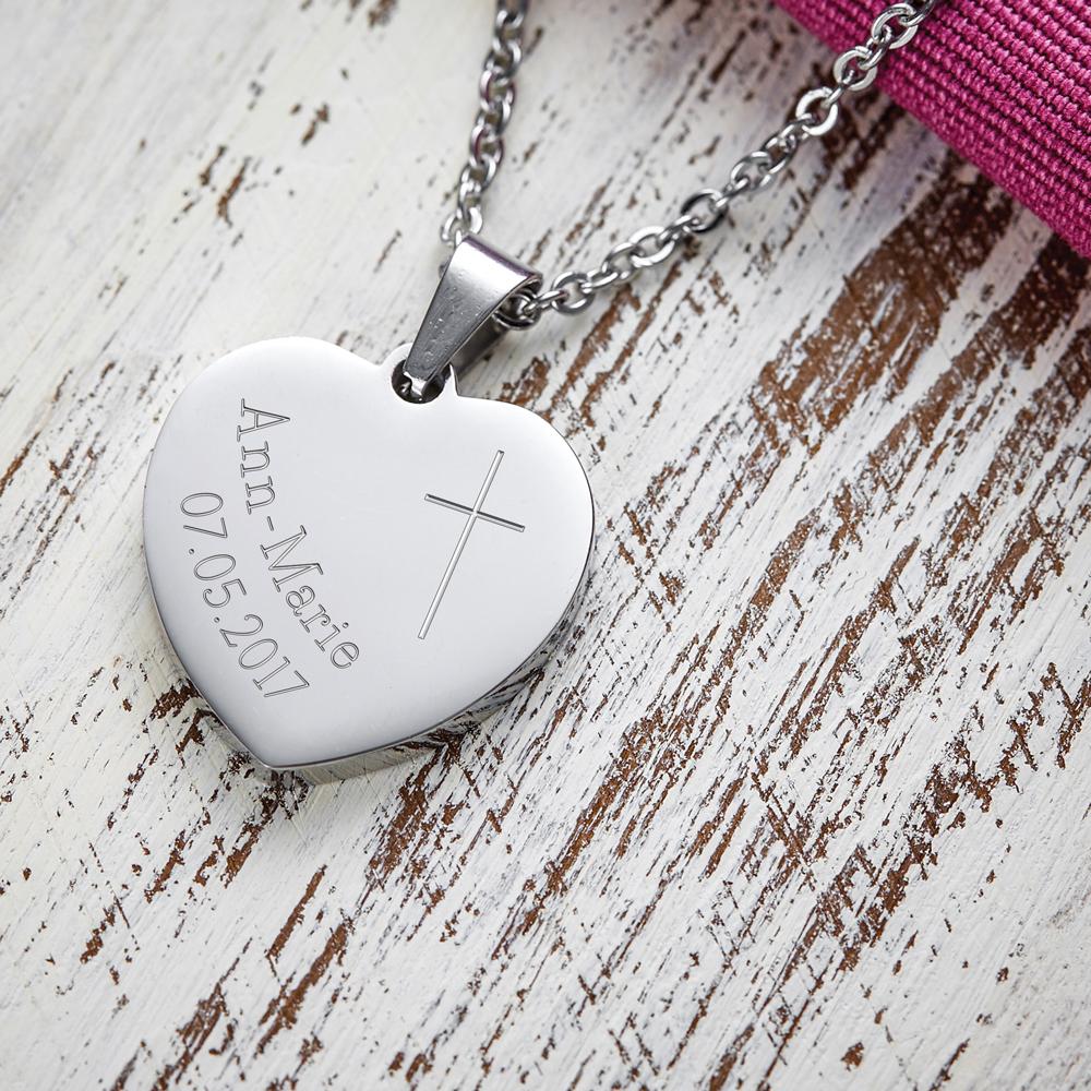 Herz Anhänger Kette mit Gravur Kommunion - Personalisiert