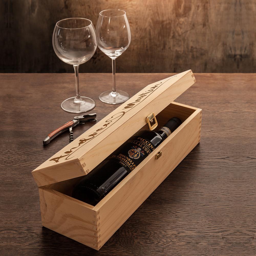 Weinkiste mit Gravur Herz und Linie - Personalisiert